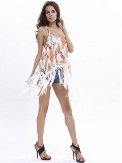 White Straps Fringe Camis Print Chiffon Top for Women