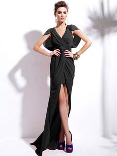 Black Split Front Floor-Length Dress High-Low Party Dress