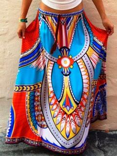 Blue Bohemian Skirt Print Spandex Maxi Skirt