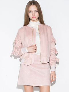 Pink Jacket Bow Chic Polyester Jacket for Women