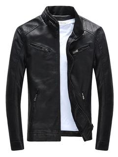 a15447072d9aa Chaquetas de hombre 2019 Chaqueta negra de cremallera bolsillos PU Slim Fit chaqueta  para hombres