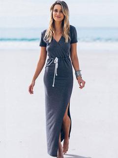 224c38b980cb Split Maxi Dress Gray Slim Fit Cotton Bodycon Dress