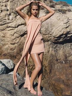 Pink Strapless Dress Asymmetric Acetate Mini Dress