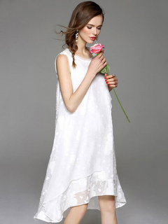 White Shift Dress High-Low Cotton Dress