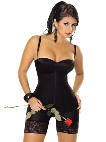 e236dce16170a Full Body Shaper Women s Black Straps Zip Front Shapewear With Lace Trim