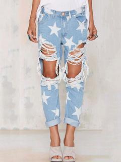Women's Ripped Jeans Stars Printed Distressed Light Blue Denim Pants