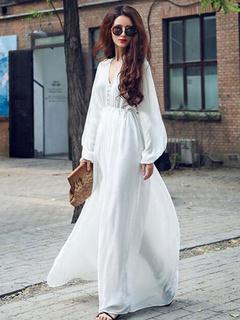 White Maxi Dress Sash Slim Fit Chiffon Dress