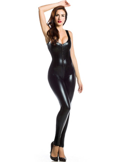 Black Club Dancing Catsuit Straps PU Sexy Jumpsuit for Women
