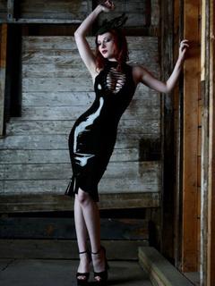 Black Bodycon Dress Cut Out PU Leather Club Dress