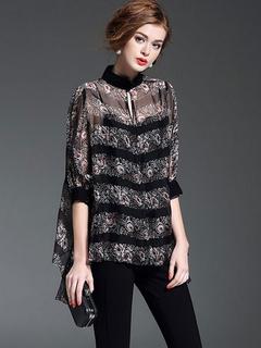 Black 3/4 Length Sleeves Printed Oversized Silk-like Wonderful Woman's Blouse