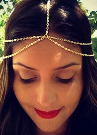 Women Boho Headband Chain Metal Golden Hair Accessory