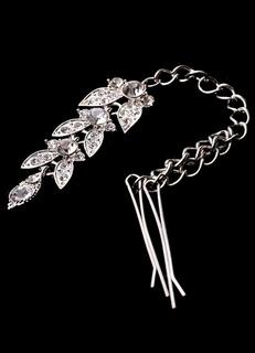 Silver Hairpin Rhinestone Chain Metal Hair Accessories