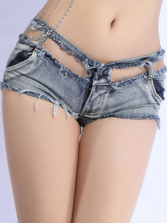 Denim Distressed Short With Cutouts and Pockets