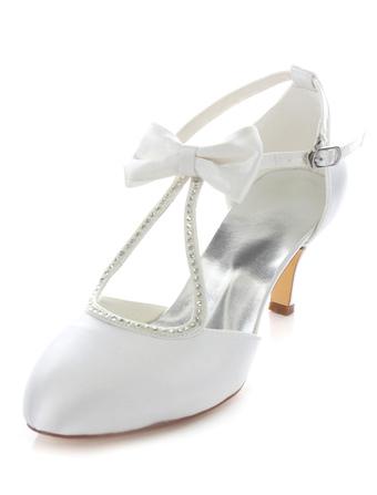 c29c2b595235 Bow Bridal Sandals White Straps Satin Wedding Heels for Women