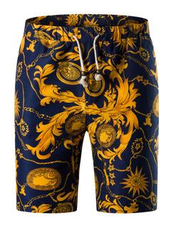 Multicolor Men's Shorts Floral Print Lace Up Cotton Shorts