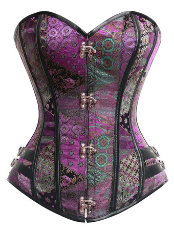Purple Lace Up Bustier Slim Fit Spandex Corsets For Women