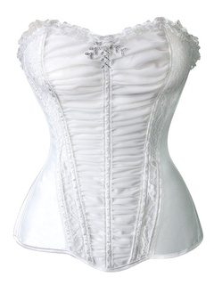White Ruched Bustier Slim Fit Spandex Corsets For Women