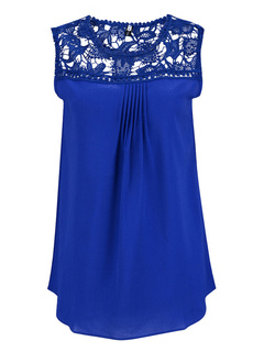 Blue Cut Out Camis Lace Chiffon Top for Women