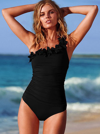 97e6d0ff1e447 Black Monokini Swimsuit One Shoulder Backless Ruffles Beach Bathing Suit  For Women