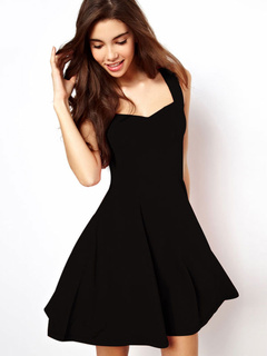 df32b8c690 Little Black Dress Women Flare Dress Sleeveless Short Summer Dress
