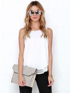 White Split Camis Polyester Top for Women