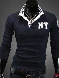 Dark Navy Polo Shirt Letters Print Cotton Polo Shirt for Men