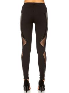 Black Mesh Cut Out Pants Skinny Polyester Women's Pants