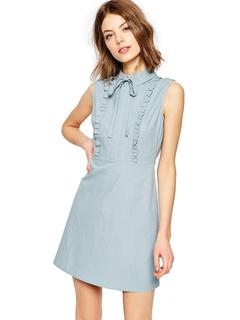 Bow Ruffles Short Dress Slim Fit Summer Dress