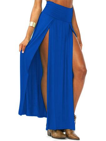 Blue High Split Cotton Satin Skirt For Women