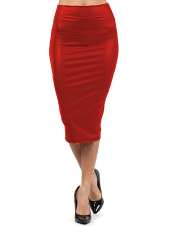 Red Spandex Chic Wrap Skirt for Women