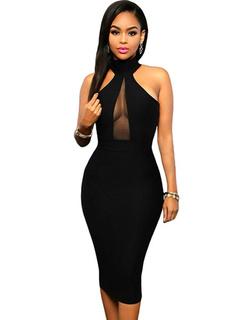 Black Halter Bodycon Dress Mesh Spandex Dress