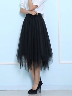 Layered Tulle Midi Skirt Solid Color A-line Skirt