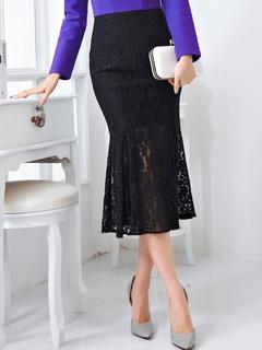 Fashion Black Lace Women's Mermaid Skirt
