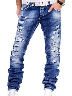 Men Ripped Jean Distressed Denim Pant Blue Straight Leg Jeans