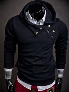 Black Hoodie Men Long Sleeve Hooded Sweatshirt