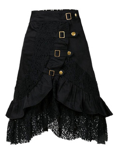 Black Woven Lace Skirt With Metal Details