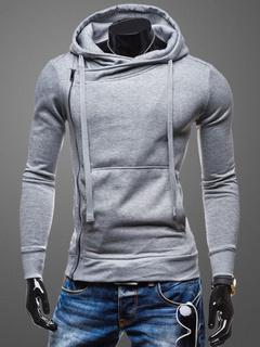 Men's Hoodie Muscle Fit Jacket With Asymmetric Zip