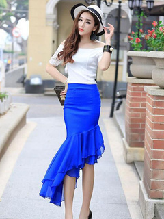 Chiffon Two Piece Set With Mullet Skirt and Off Shoulder Top