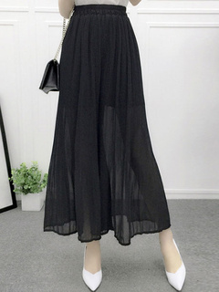 Elegant Pintuck Chiffon Wide Leg Pants for Women