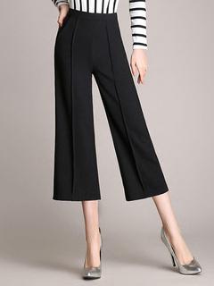 Black Zipper Fly Wide Cotton Blend Elegant  Cropped Pants for Woman