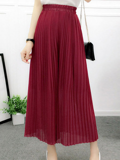 Oversized Elastic Waist Wide Leg Pintuck Chiffon Fashion Woman's Pants