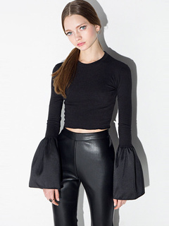 Black Vintage Cropped Long Sleeves T-Shirt For Women