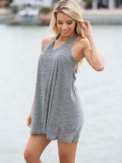 Gray Sleeveless Cotton Blend  T-shirt Dress