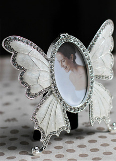 Wedding Picture Frame White Small Size Rhinestone Butterfly Wedding Favor