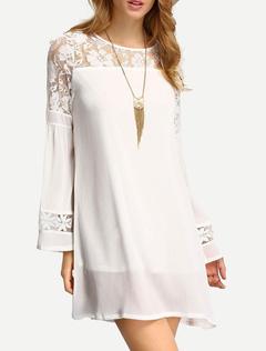 Long Sleeves Acetate Charming Shift Dress For Women