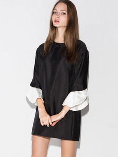 Charming Black Jewel Neck Polyester Shift Dress For Woman