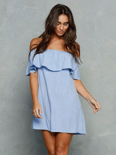 Fantastic Blue Bateau Neck Ruffles Cotton Flax Woman's Shift Dress