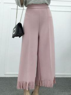Oversized Elastic Waist Fringe Wide Pants