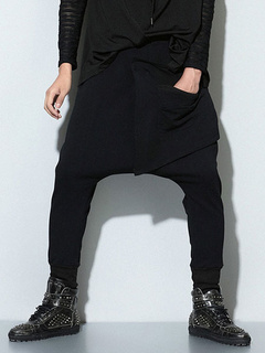 Black Drop Crotch Pants Harem Dance Trousers For Men
