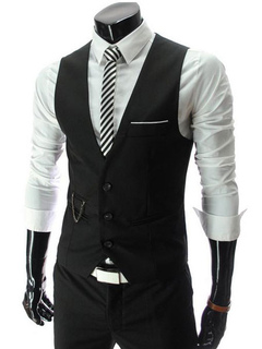 Black Men Vest V Neck Slim Fit Waistcoat